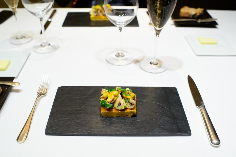 4th Course: Cake salé aux champignons de Paris (salty mushroom
