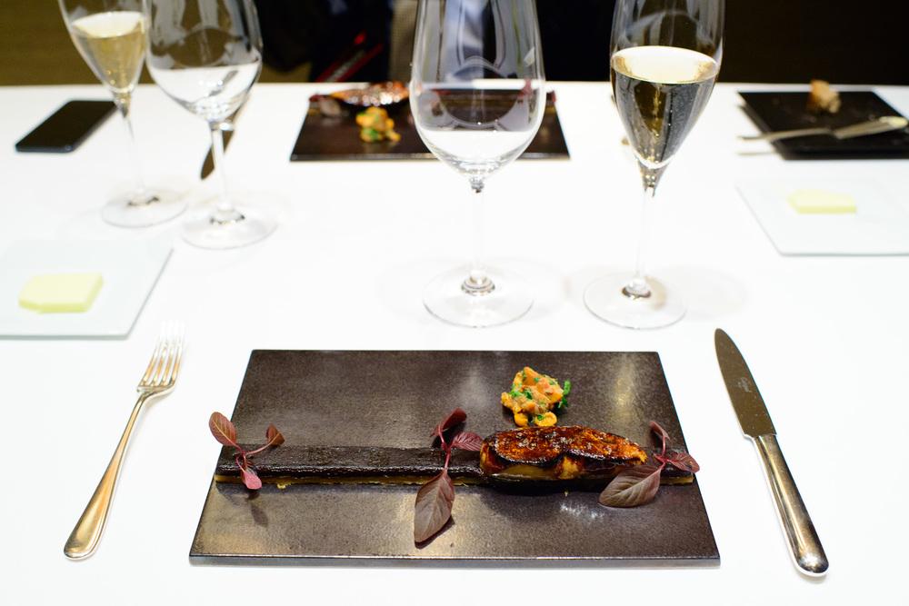 6th Course: tarte boudin noir (pork black budding tarte with foi