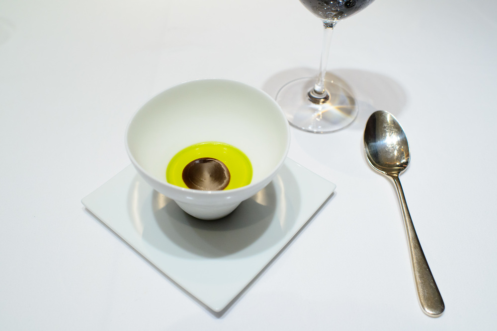 10th Course: Crème au coco (coco cream with pistachio oil and e