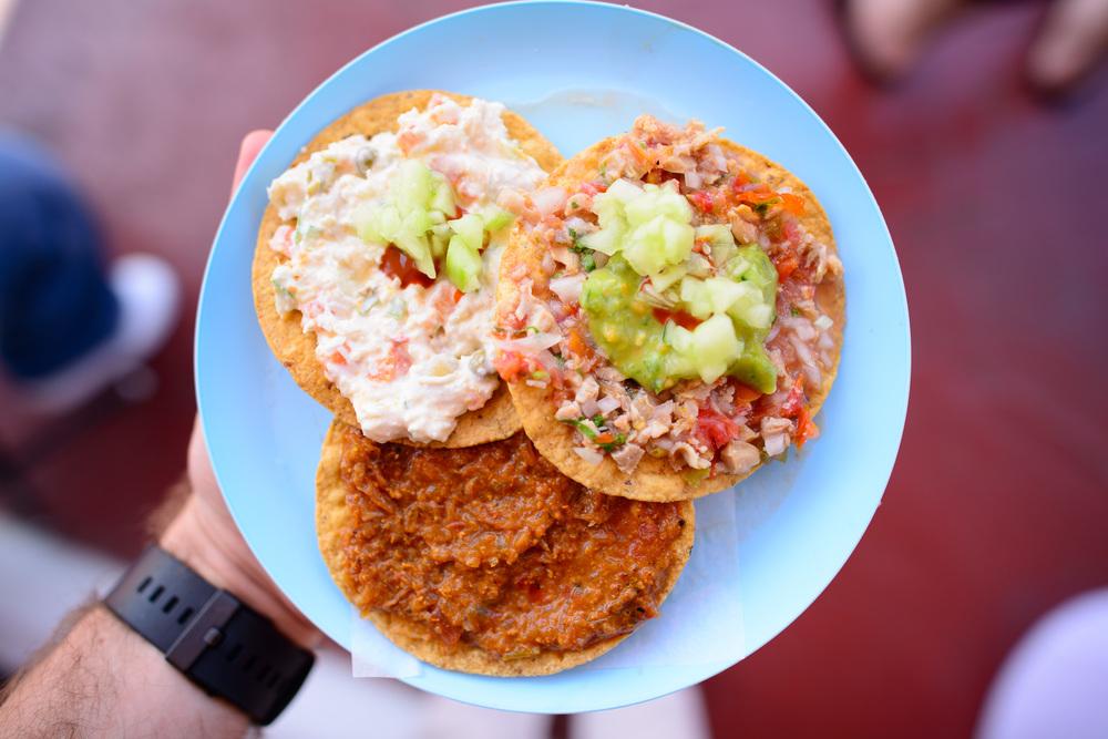 Tostadas de ceviche (sea urchin, mackerel, local crab)