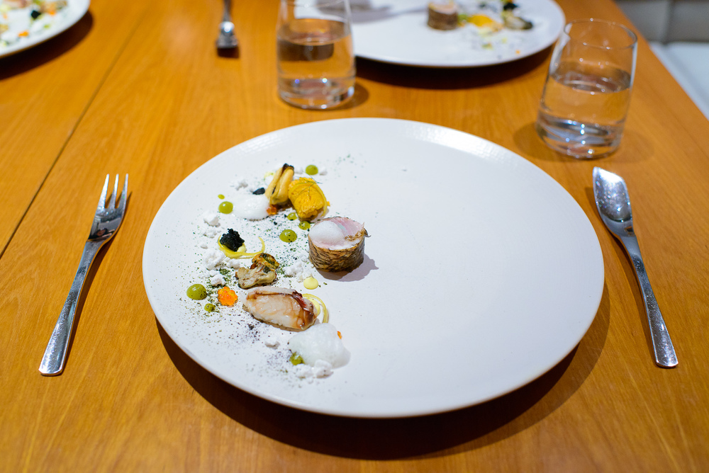 "3rd Course: ""The Sea"" - Tai snapper, dungeness crab, sea urchin,"