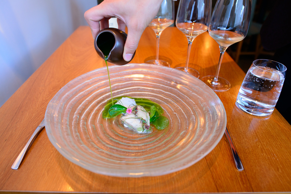 5th Course: Oyster, melon, wheatgrass