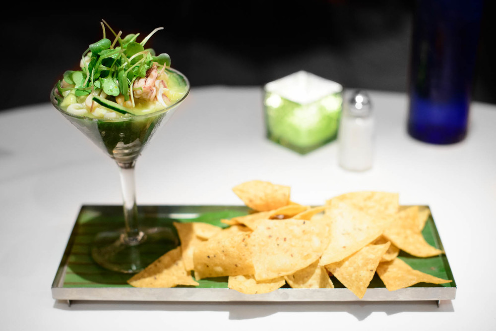 Ceviche Yucateco: Steamed Mexican blue shrimp & calamari, lime,