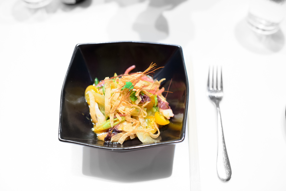 Ceviche of baby octopus, hokkaido scallops, shrimp, squid, yuzu-