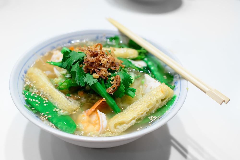 Slurping noodle (wheat free) - rice noodle, clear shiso broth, b