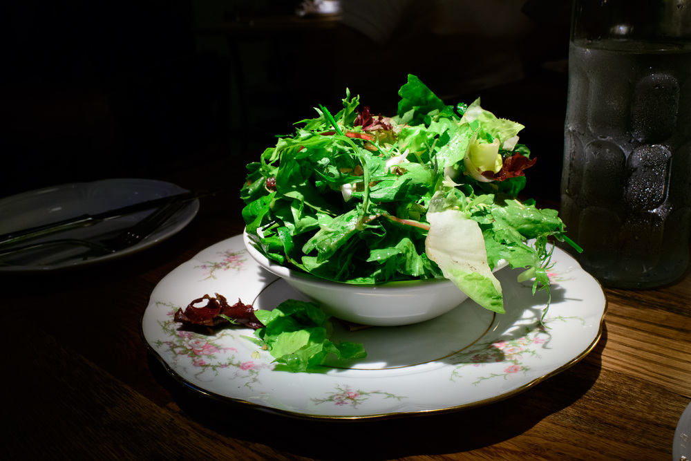Green salad with pickled shallot, herbs, and sherry vinaigrette
