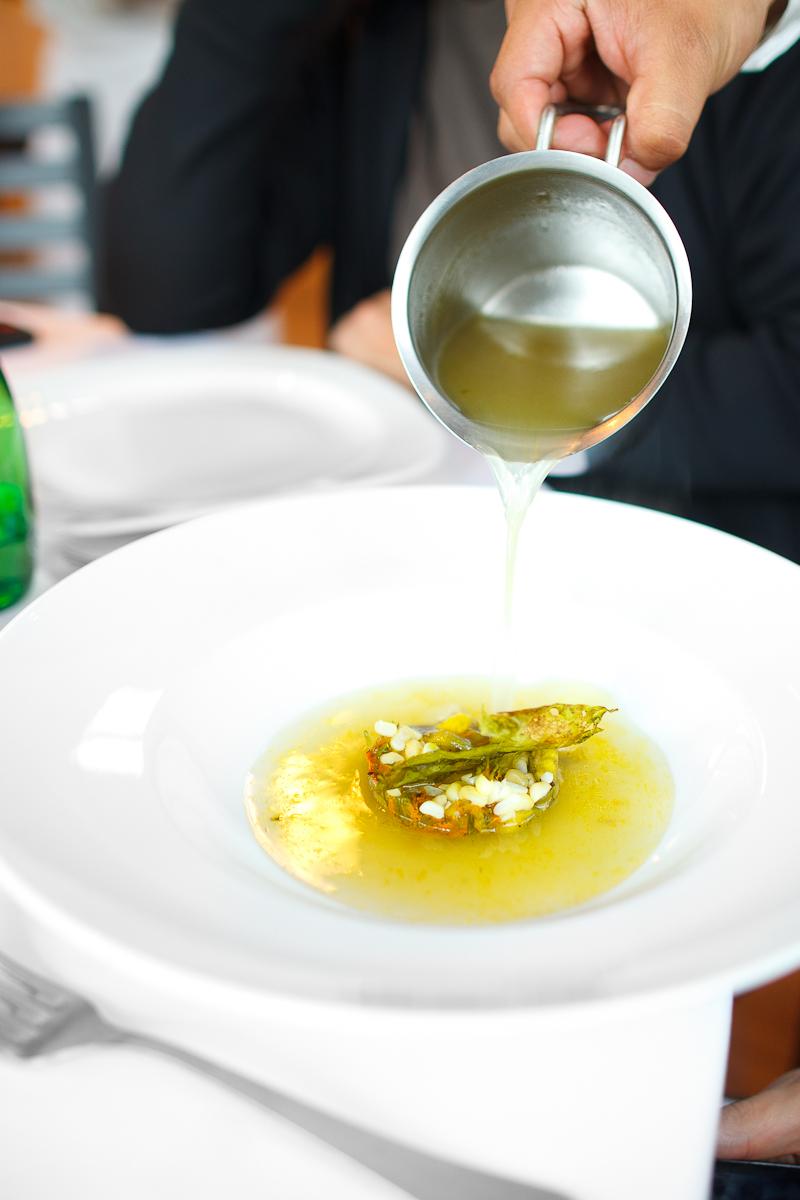 Sopa de flor de calabaza, con granos de elote y laminilla de chile poblano (squash blossom soup with corn and sheets of chile poblano) (70 MXP)