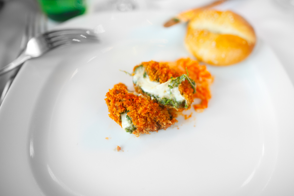 Croquetas de huauzontles, acompañadas con arroz blanco y caldillo espeso de jitomate (Mexican huauzontle croquets filled with cheese over white rice and tomato broth), interior (90 MXP)