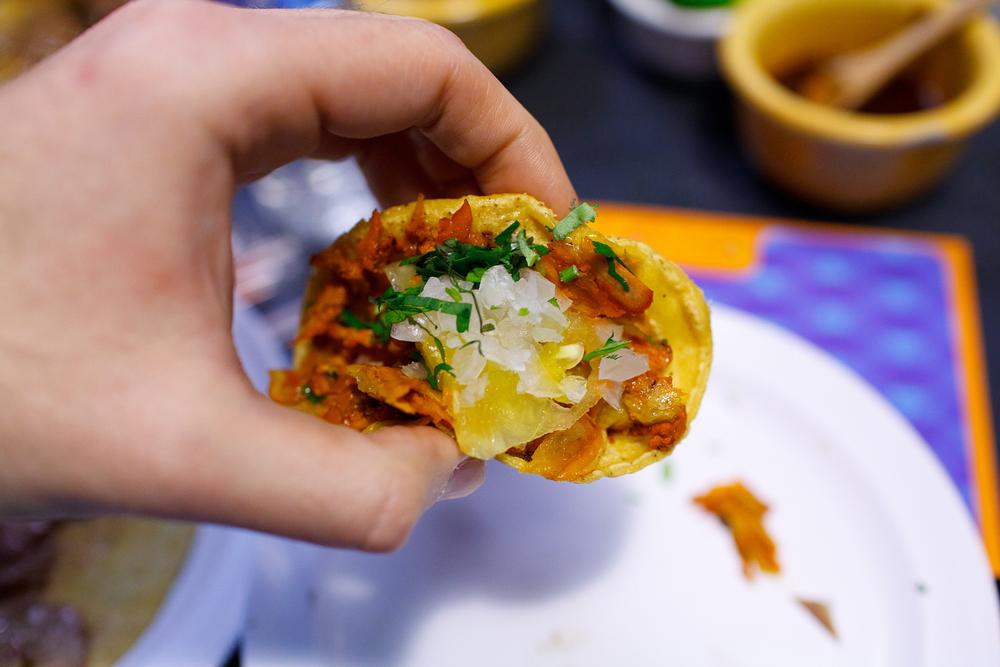 Taco al pastor, up close