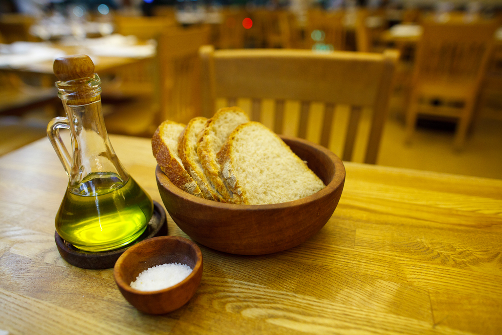 Bread, olive oil, and salt