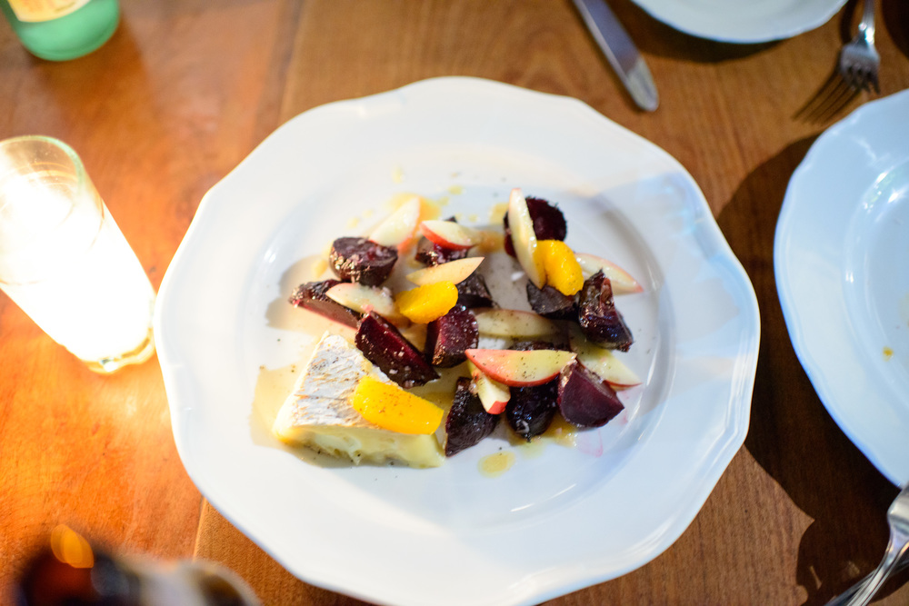 Roasted beets, orange, nectarines, and local cheese