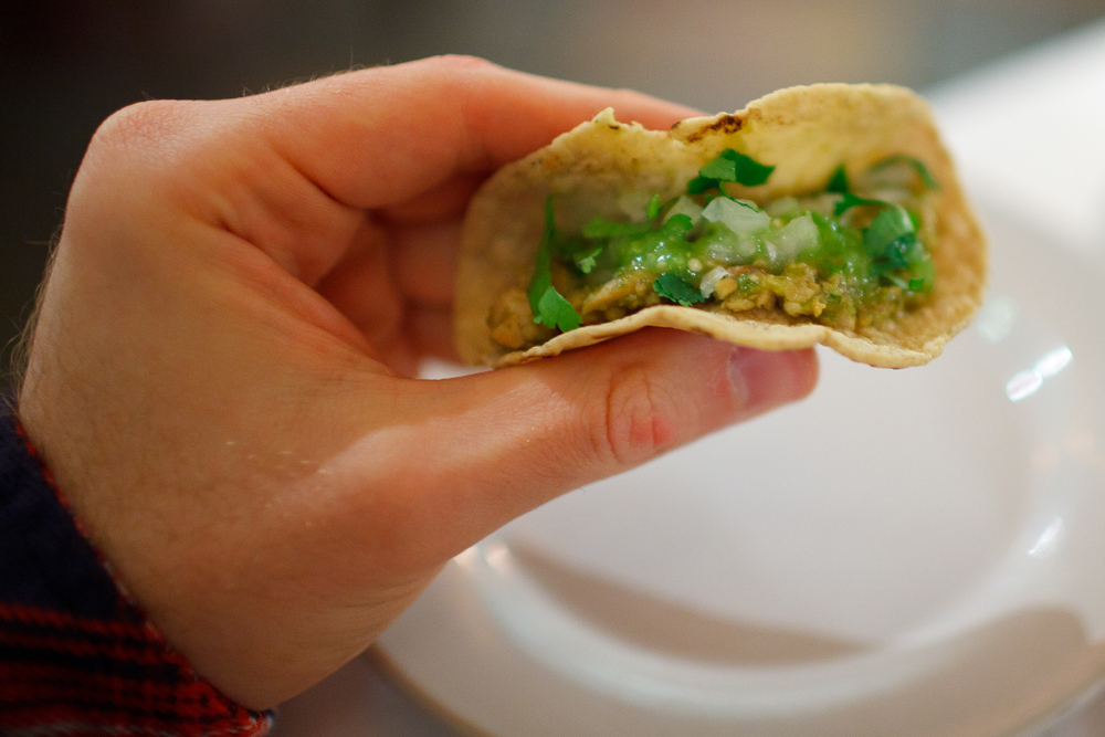 Tacos de chicharrón prensado en salsa verde con calabacitas y tortillas hechas a mano (Pressed pork skin tacos, green salsa, squash, and hand-made tortillas) ($95 MXP), single.jpg