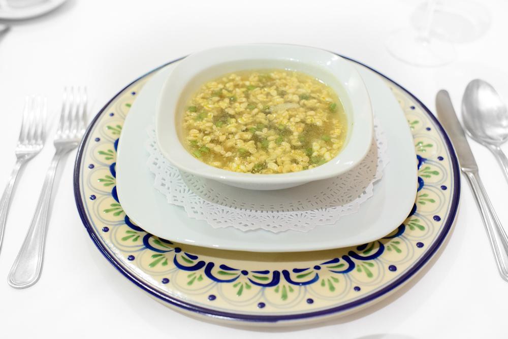 Sopa de escamoles con epazote (ant larvae soup with epazote)