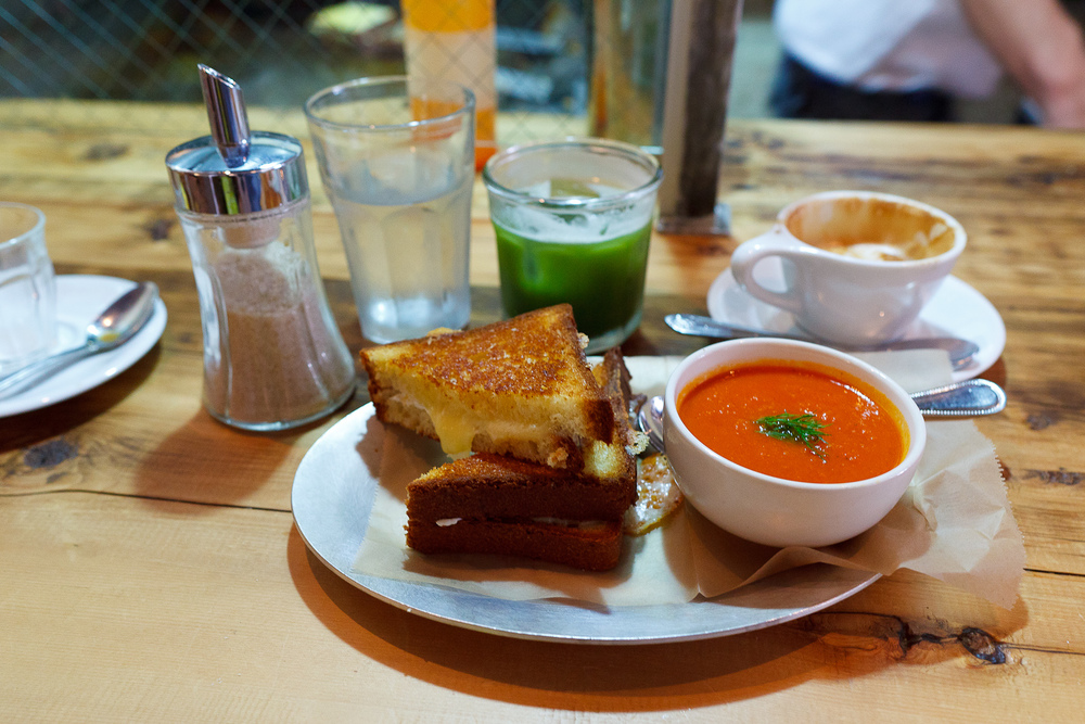 Cheddar and Mozarella, brioche with tomato soup ($8)