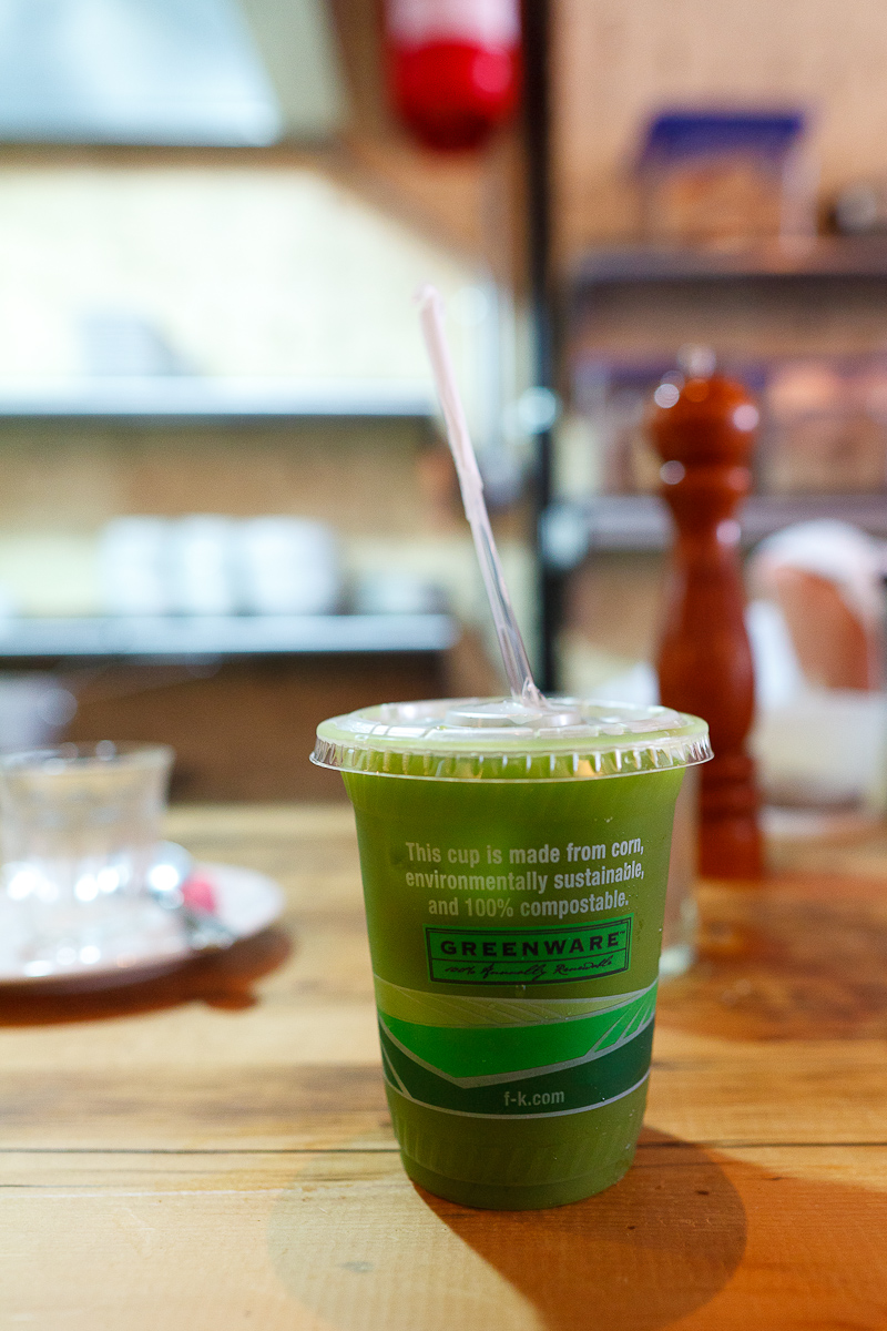 Iced matcha green tea, to go ($3.50)