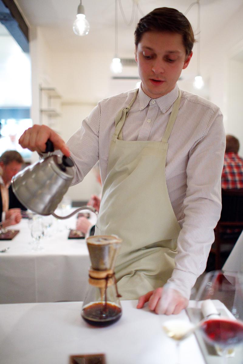 Table-side chemex coffee