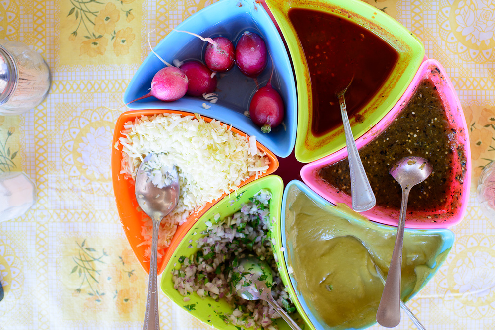 Radish, salsas, and onion