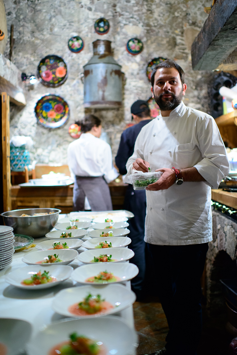 Chef Enrique Olvera in the kitchen of Casa Dragones