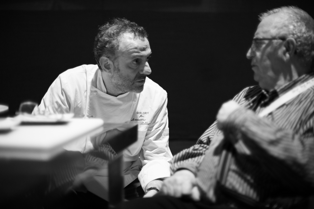 Chefs Massimo Bottura and Juan Mari Arzak discussing the role of