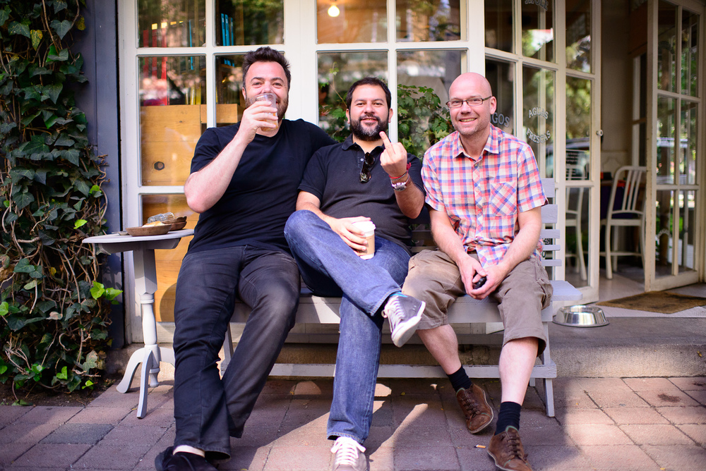 Chefs Bo Bech, Enrique Olvera, and Magnus Ek outside Eno Petrarc