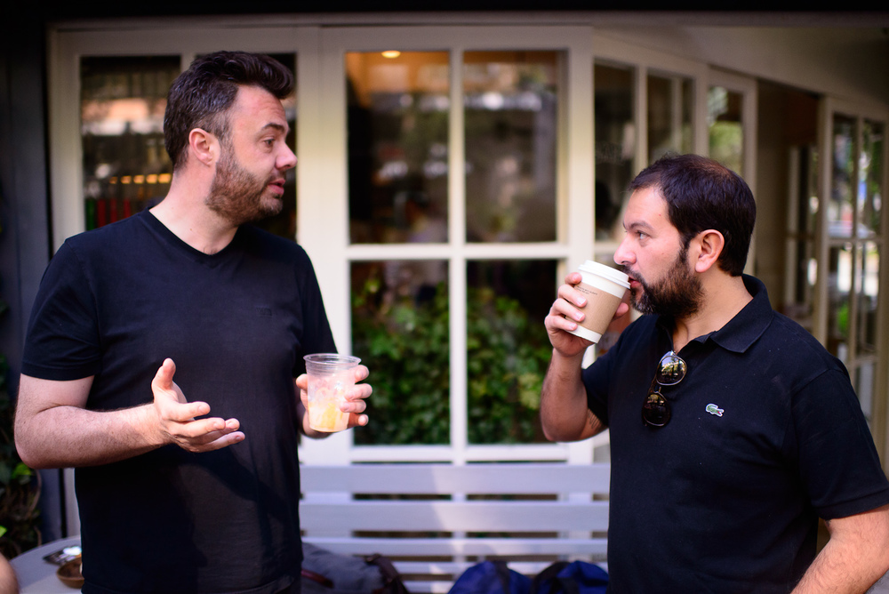 Chefs Bo Bech and Enrique Olvera grabbing coffee outside Eno Pet