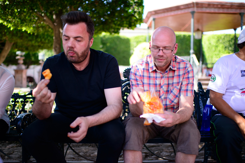 Chefs Bo Bech and Magnus Ek trying chicharrón chips for the fir
