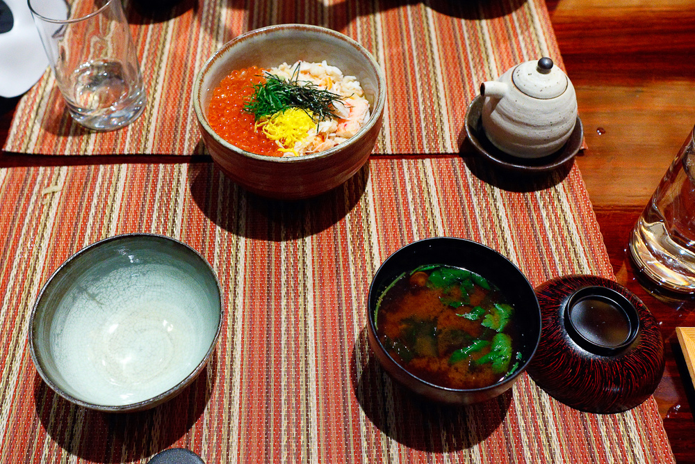 Kani ikura don, Alaskan king crab and dashi-marinated salmon roe over rice ($29) with Akadashi red miso soup ($5)
