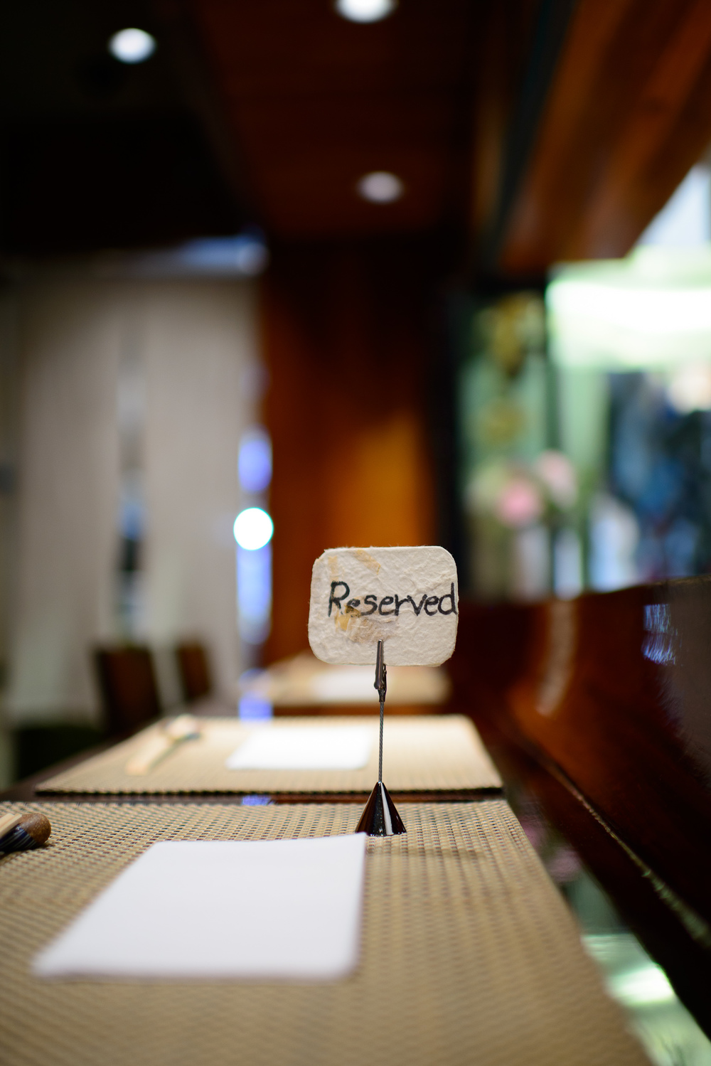 Reserved for kaiseki