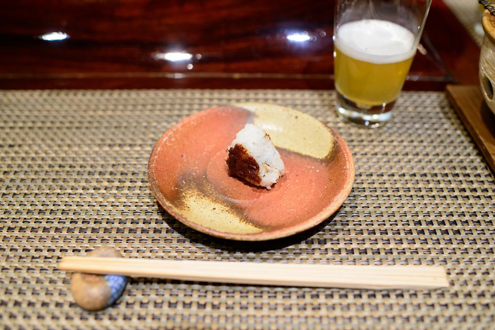 "3rd Course: ""Oshinogi"" - celery miso yaki onigiri"