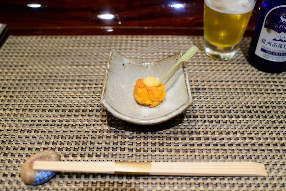 """1st Course: """"Zatsuki"""" - Peter corn croquette"""