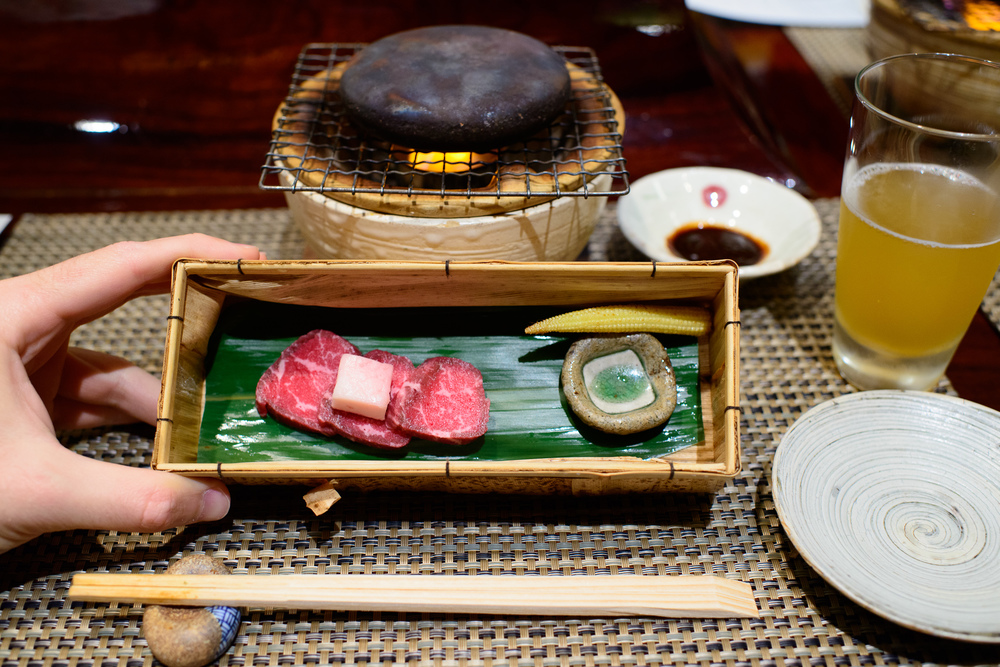 "9th Course: ""Yakimono"" - Washu Tajima beef on a hot stone grill"