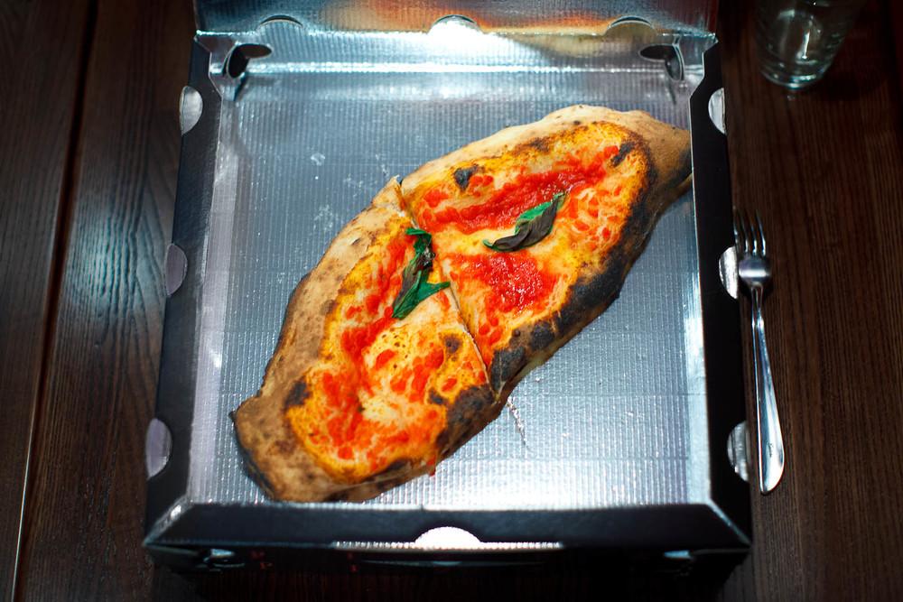 Calzone - tomato sauce, homemade mozzarella, fresh ricotta, sala