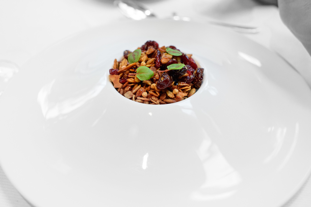 Foie gras, sour cherry granola, aged balsamic and sorrel