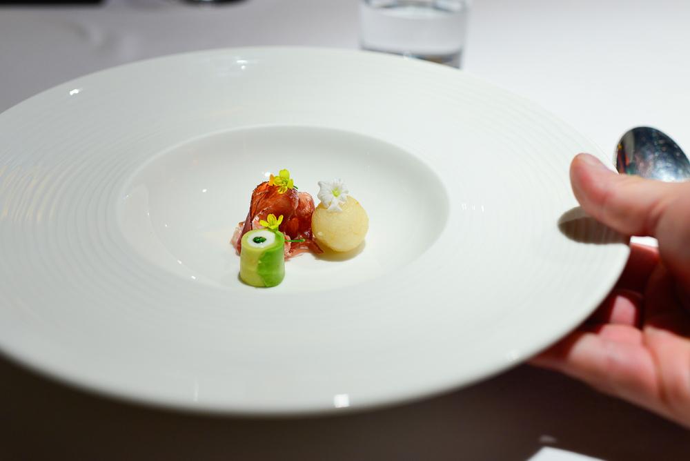 """7th Course: Sopa de frijol negro, Jamón Iberico de bellota """"Jos"""
