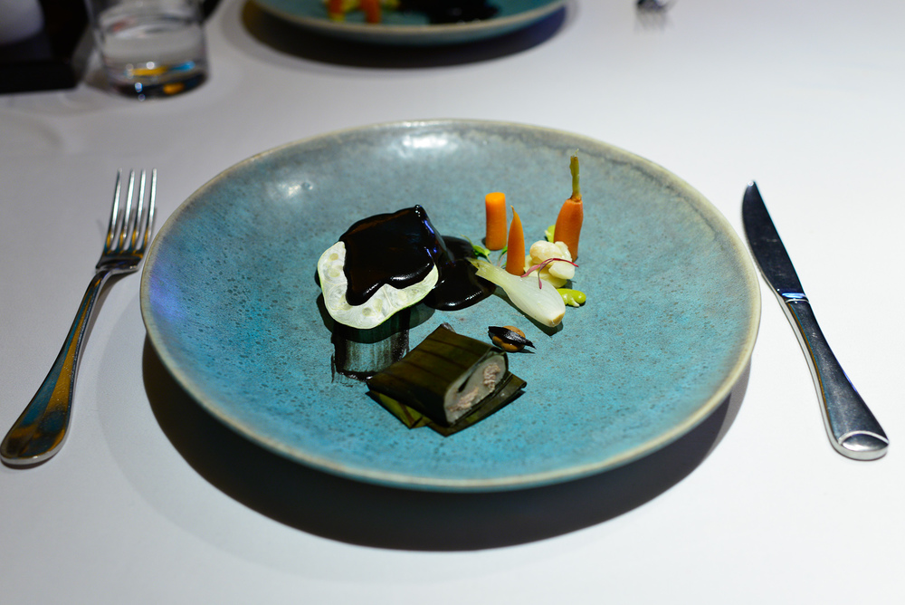 10th Course: Venado cola blanca yucateco, chilmole, ajo negro, v
