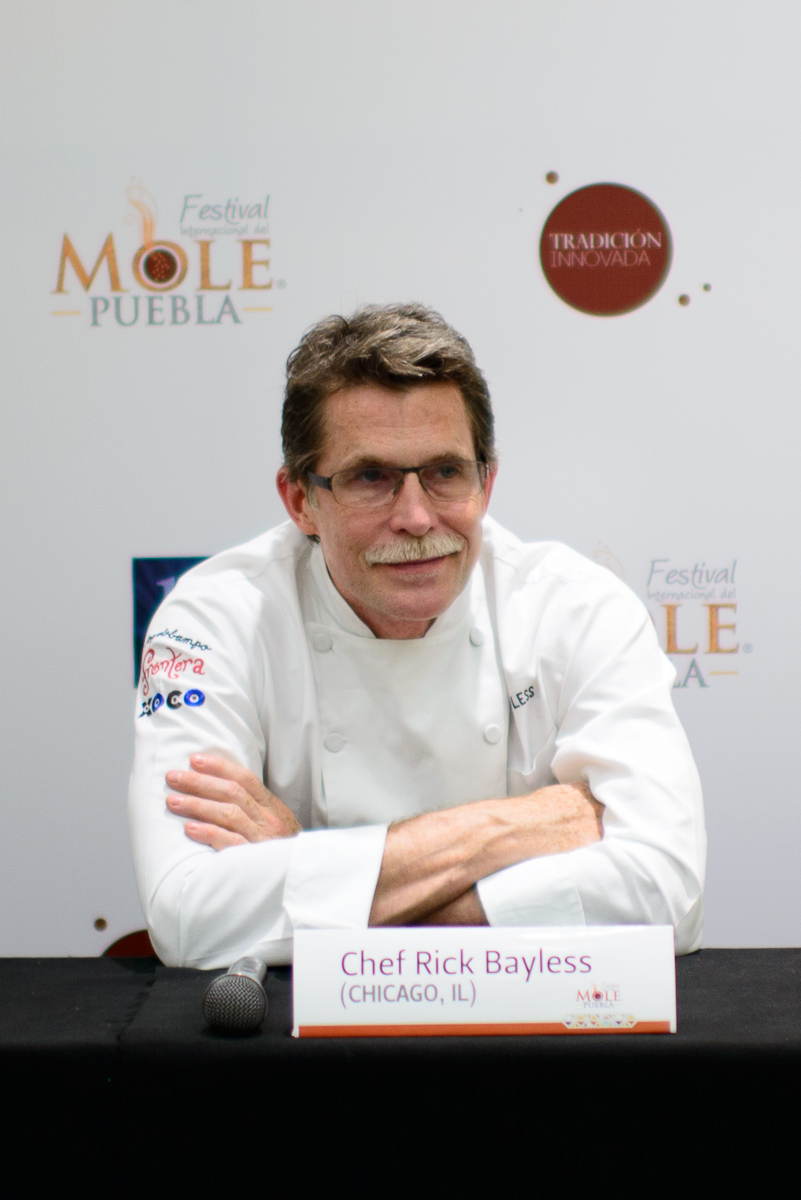 Chef Rick Bayless answers questions at press conference