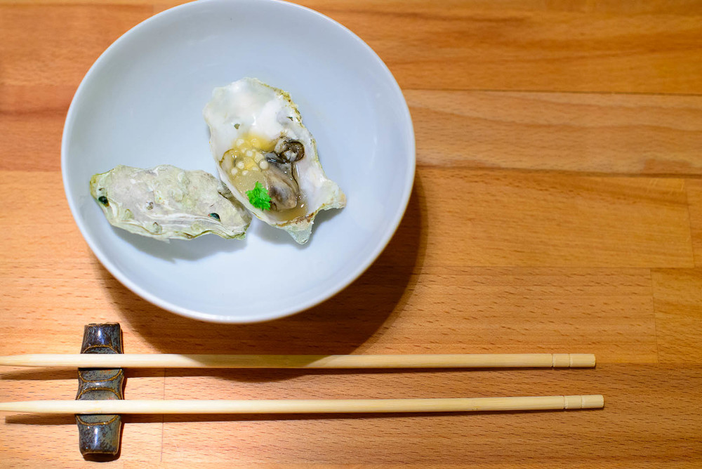 2nd Course: Grilled oyster, apple cider, sake, tapioca ($3 each)