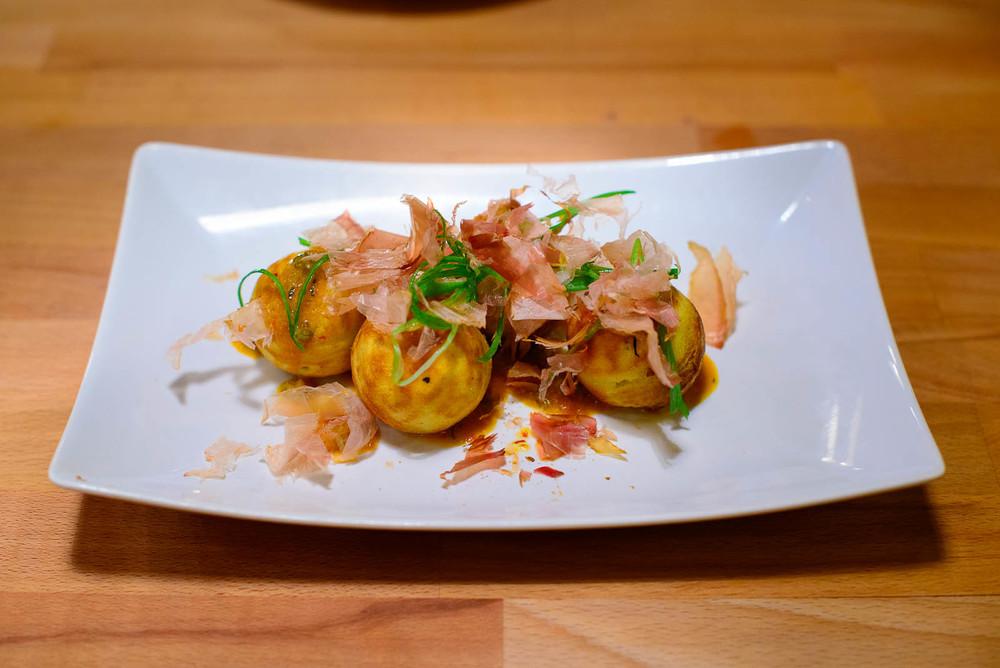 3rd Course: Salmon roe takoyaki, chile, bonito, scallions ($8.50
