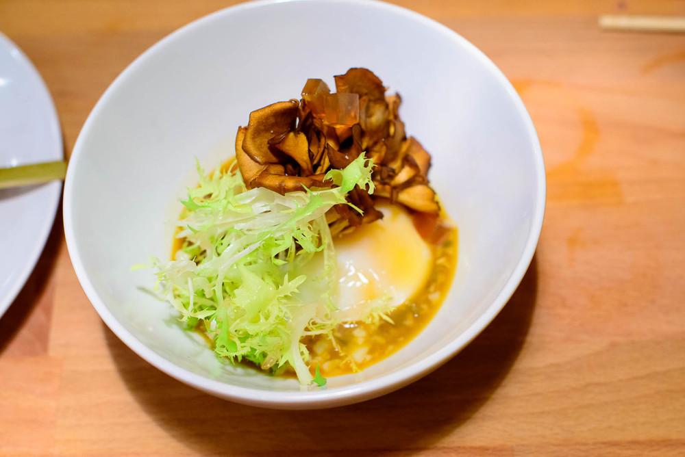 6th Course: Maitake mushroom, egg vinaigrette, dashi gelee ($10)