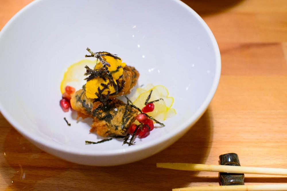 7th Course: Sea urchin, nori, shiso, buddha's hand ($9)