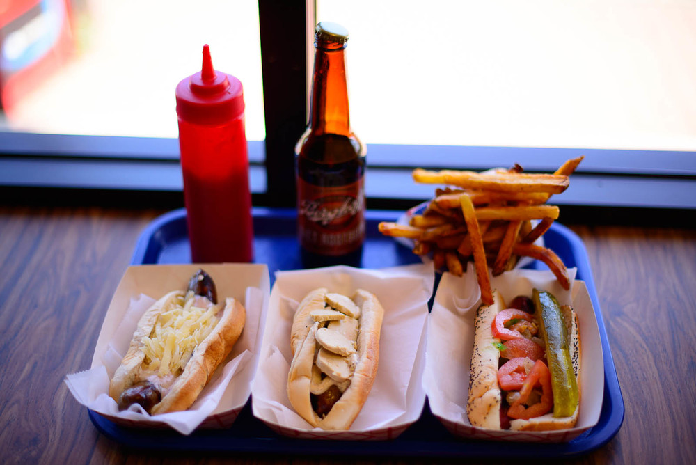 The mountain man, foie gras, and traditional Chicago dog with fr