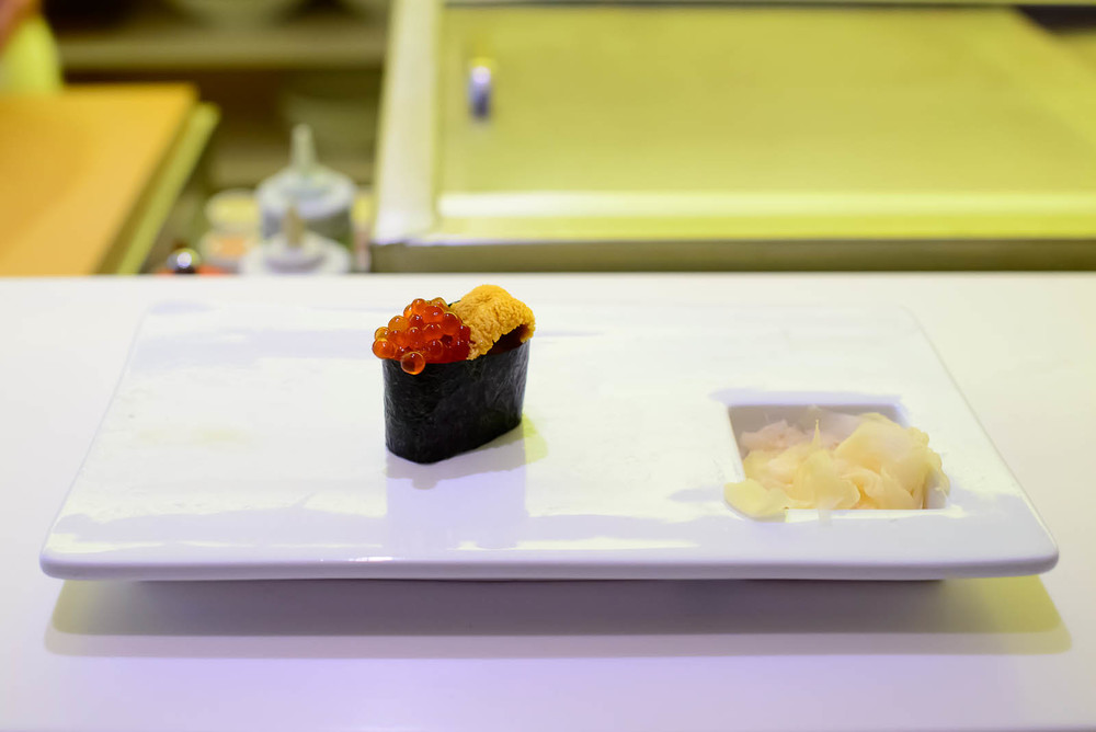 14th Course: Sea urchin and salmon roe sushi