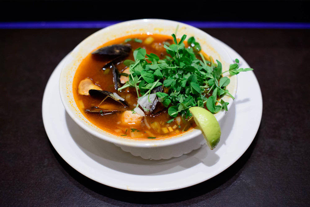 Seafood caldo - Mexican blue shrimp, mussels, catfish, red chile