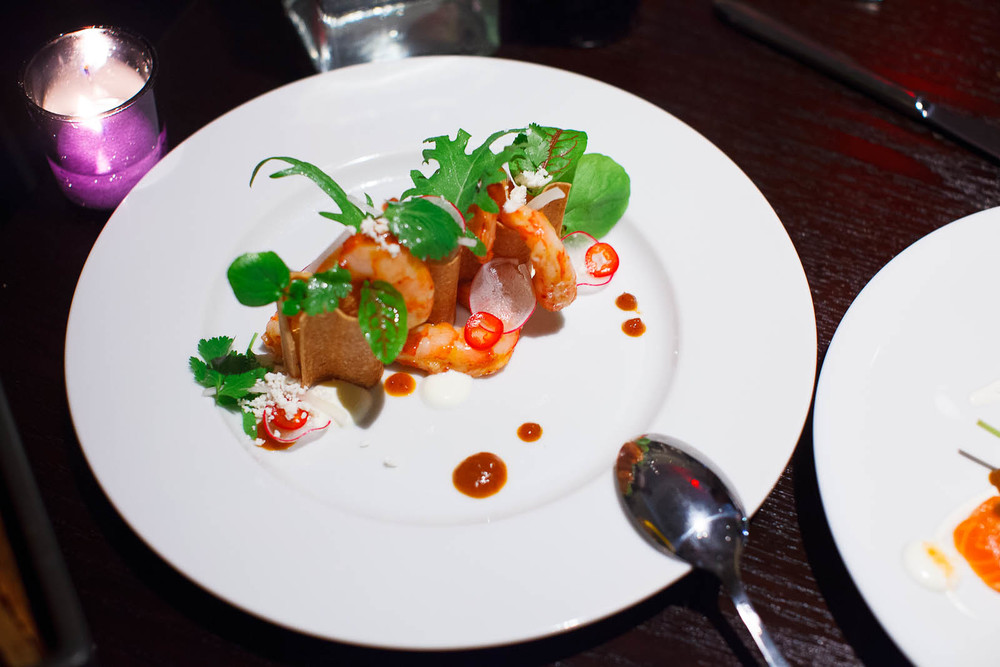Ruby Red Shrimp with Crispy Masa, SeaUrchin Mousse and Lettuces