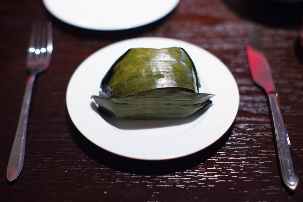 Tamal Colado (Yucatan style strained tamal, chicken, achiote) ($