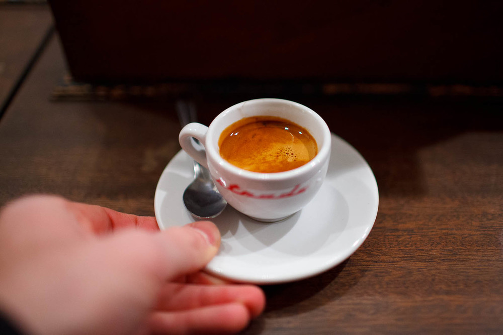 "Espresso pulled from Stumptown's Ethiopian ""Mordecofe"""