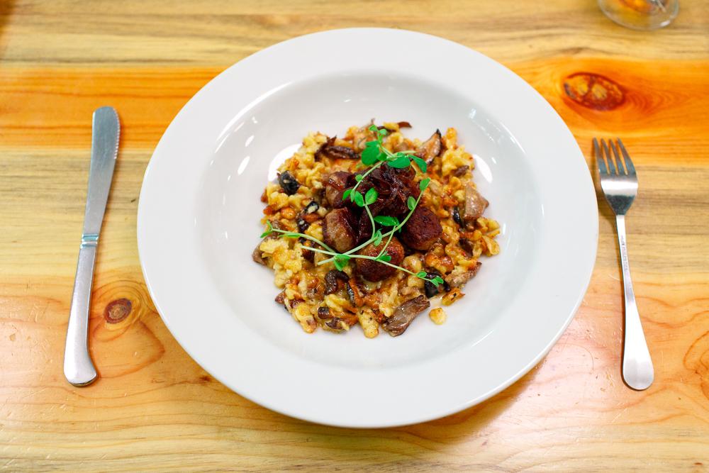 """Wild boar meatballs, spaetzle, mushroom ragu, """"agrodolce"""" onion ($18)"""