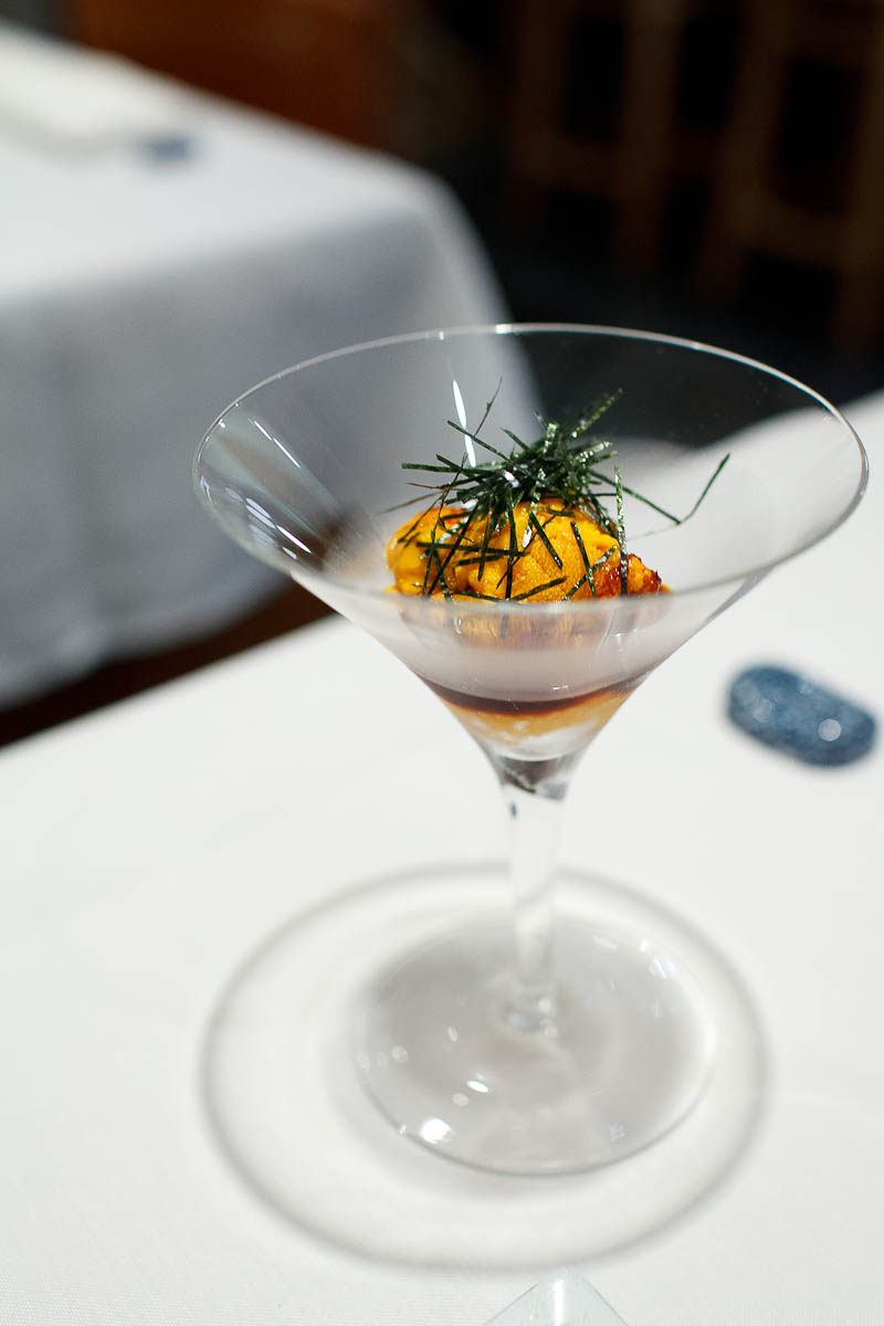 Uni cocktail - finest Japanese sea urchin with soy reduction and