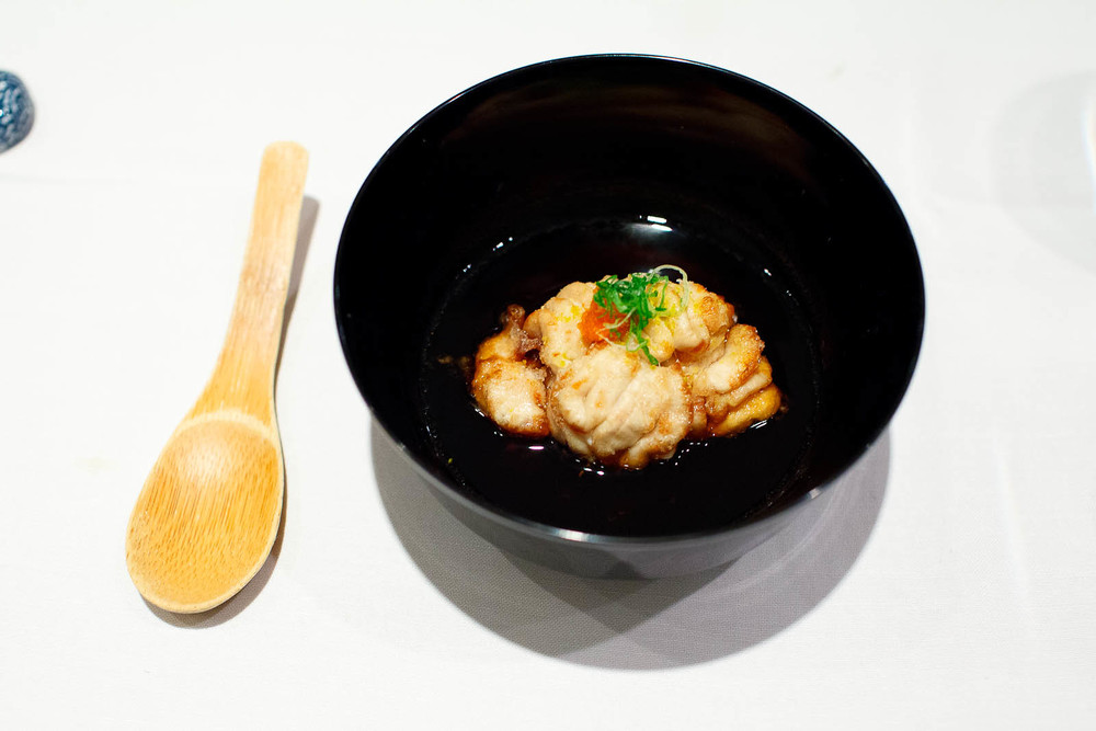 Shirako agedashi - deep fried winter cod milt (white roe) from M