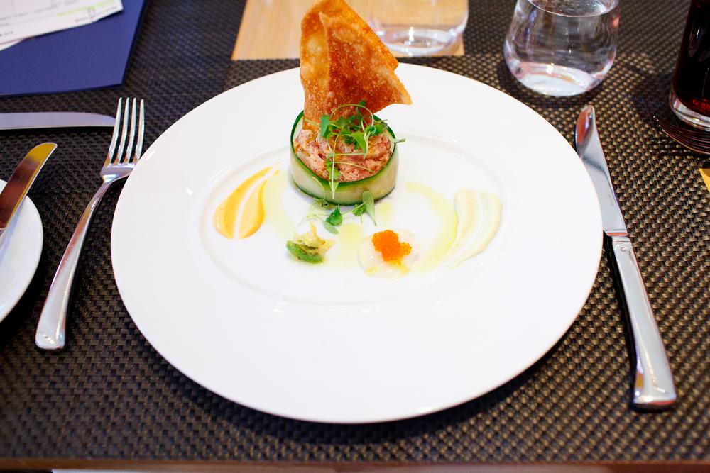 Hawaiian tuna tartare - Japanese cucumber, baby radish, micro cilantro, tosa caviar ($24)